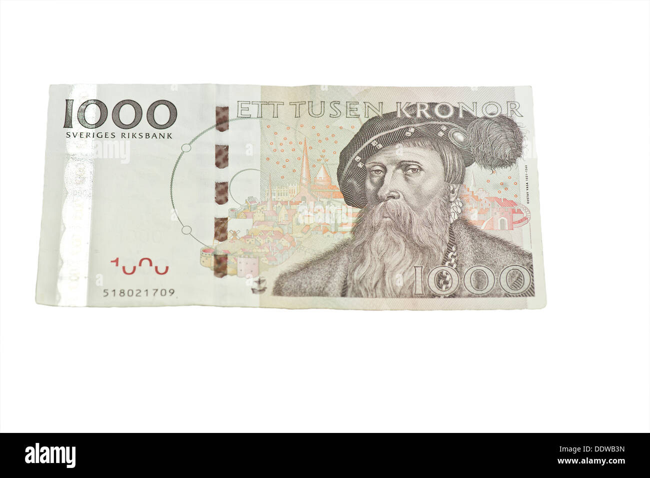 Closeup of a one thousand Swedish kronor bill - Stock Image