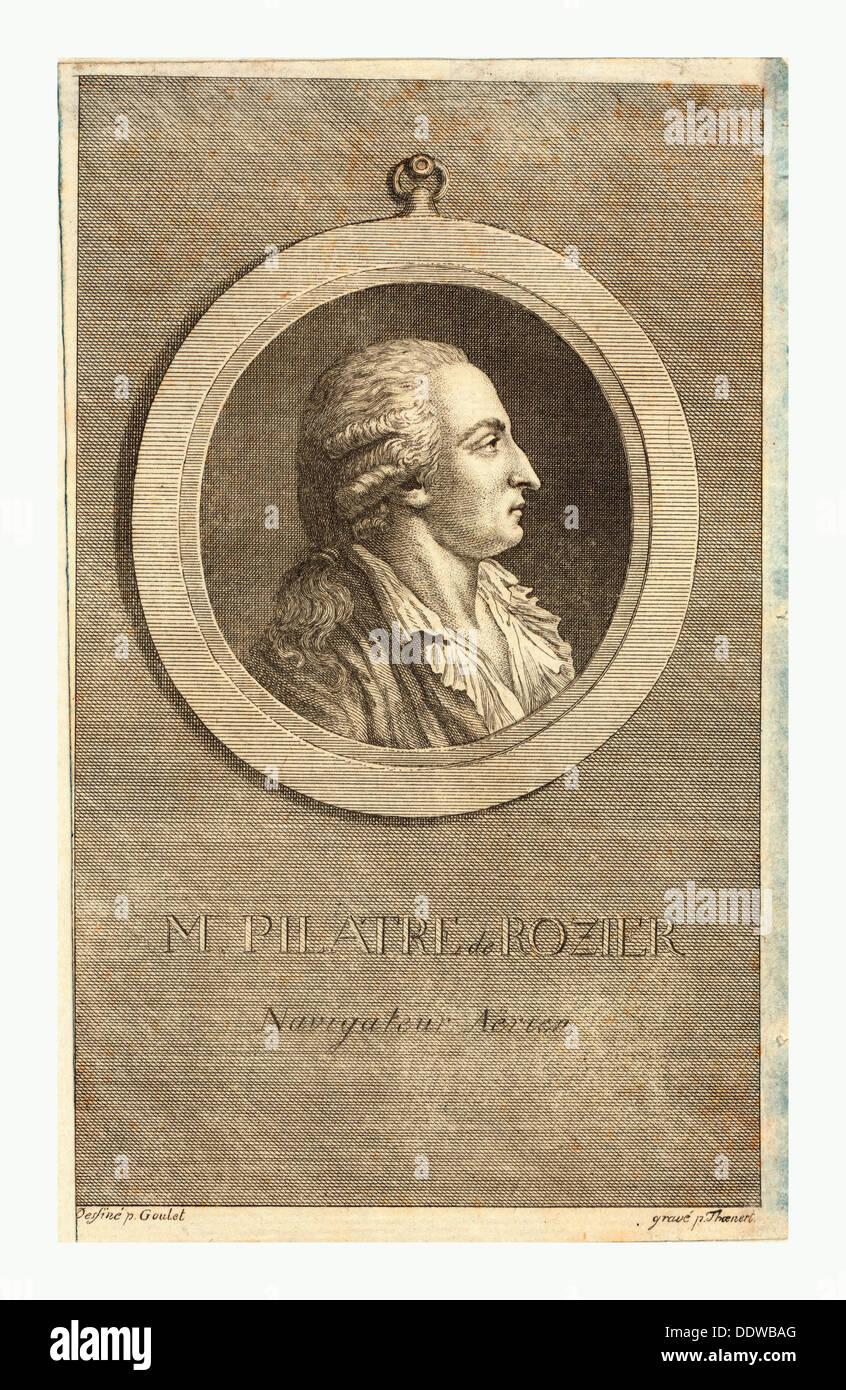 M. Pilatre de Rozier, aeronaut by p. Goulet , engraved by p. Thoenert - Stock Image