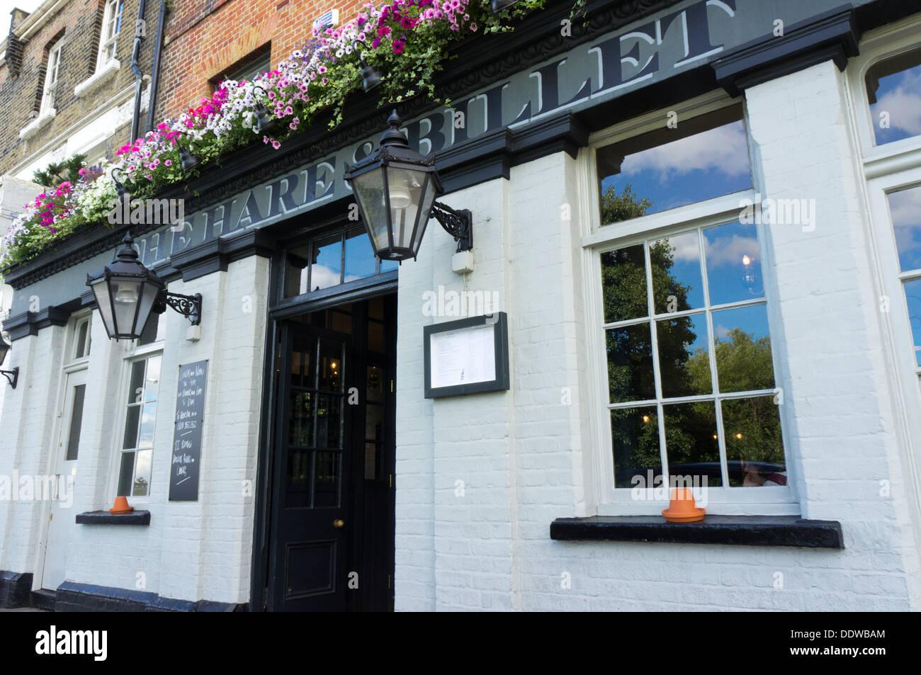 The Hare & Billet pub in Blackheath, London. - Stock Image