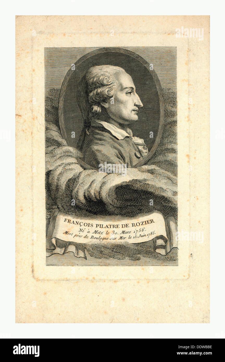 Oval head-and-shoulders profile portrait of French balloonist Jean-François Pilâtre de Rozier Stock Photo