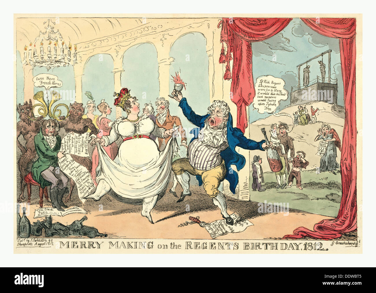 Merry making on the regents birth day, 1812, Cruikshank, George, 1792-1878, etcher, 1812, George, the Prince Regent, dancing - Stock Image