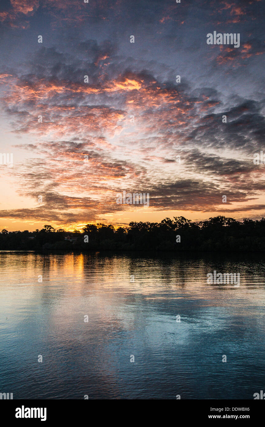 Sunset on the Brisbane River, Queensland, Australia - Stock Image