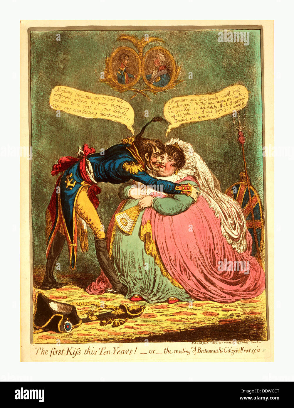 The first Kiss this Ten Years! - or - the meeting of Britannia & Citizen Francois, Gillray, James, 1756 1815, engraver, [London] - Stock Image