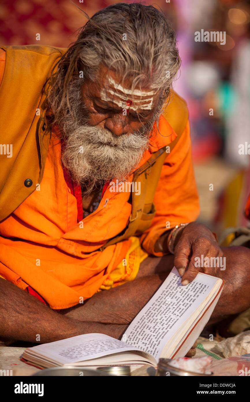 Naga Sadhu Portrait - The Great Renounce , reading a manuscript with mantras at the Kumbh Mella 2013 in Allahabad, Stock Photo