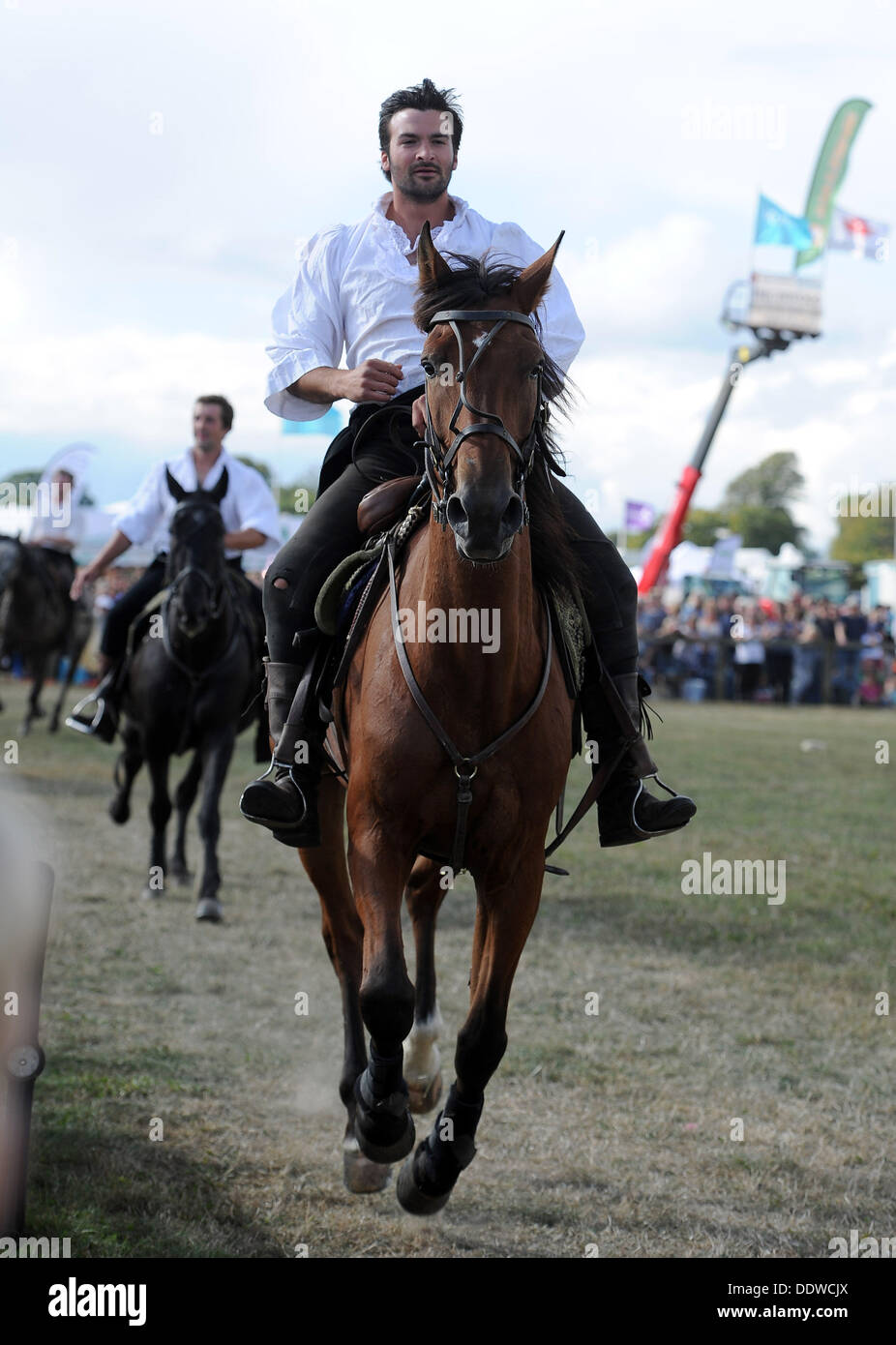 Dorset County Show, Britain, UK, The Devil's Horsemen Stunt Team, pictured is one of horses that played Joey in the movie Warhorse, 07th September, 2013  Picture by Geoff Moore/Dorset Media Service/Alamy Live News - Stock Image