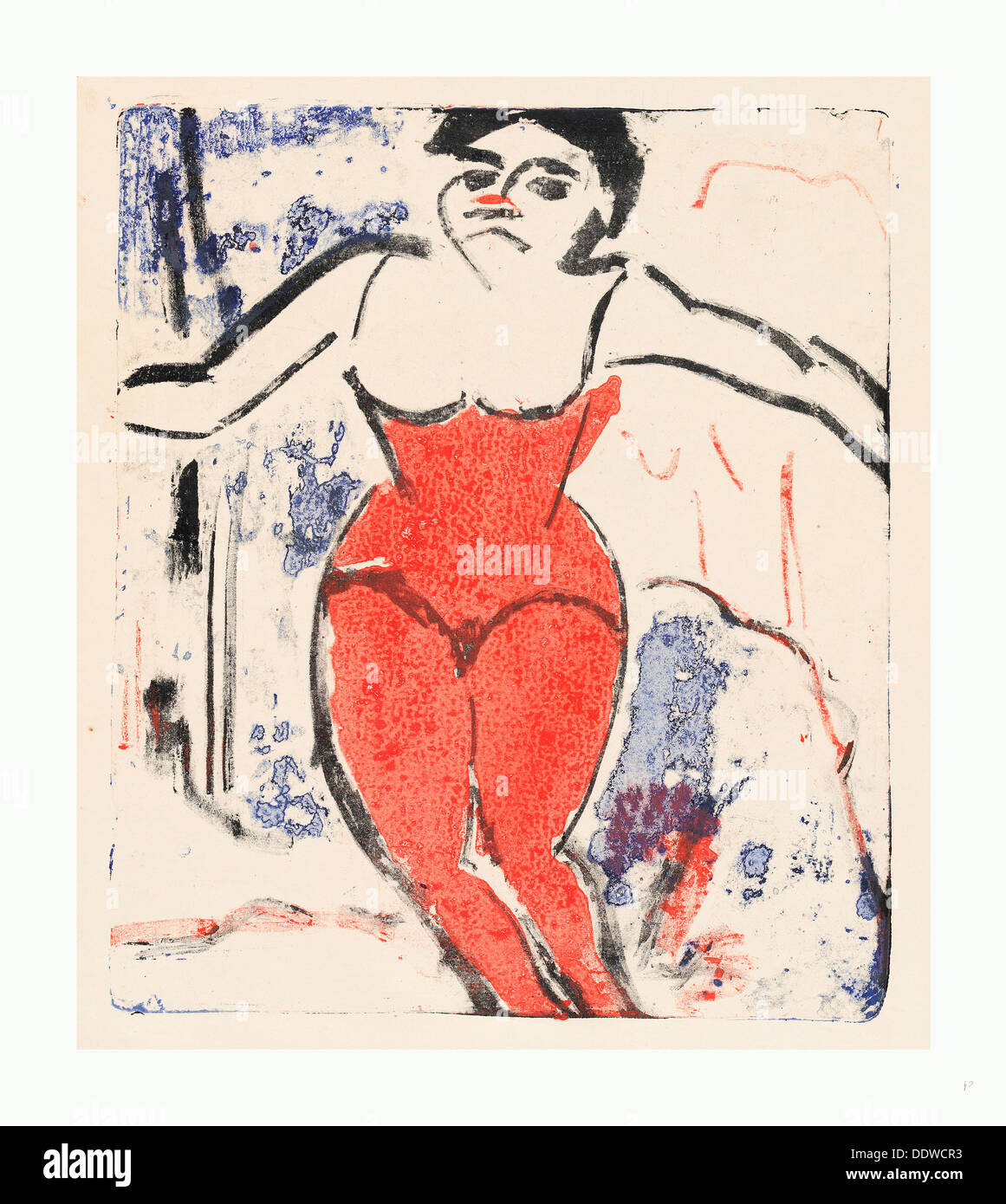 Ernst Ludwig Kirchner, Performer Bowing (Beifallheischende Artistin), German, 1880 - 1938, 1909, lithograph in red, black - Stock Image