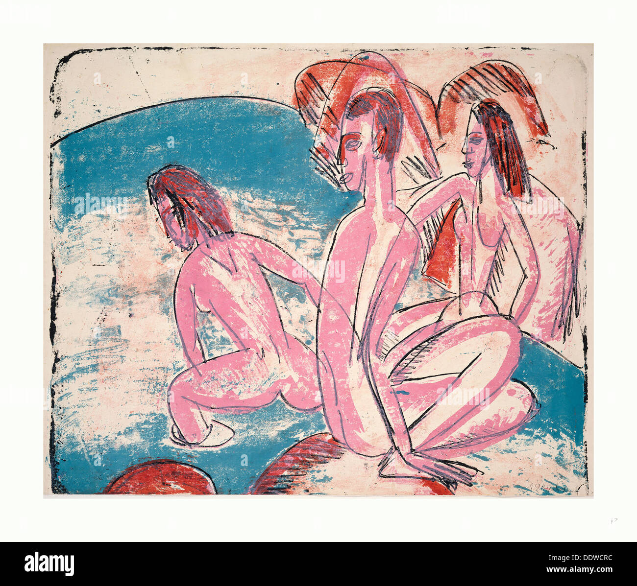 Ernst Ludwig Kirchner, Three Bathers by Stones (Drei Badende an Steinen), German, 1880  1938, 1913, lithograph in pink, blue - Stock Image
