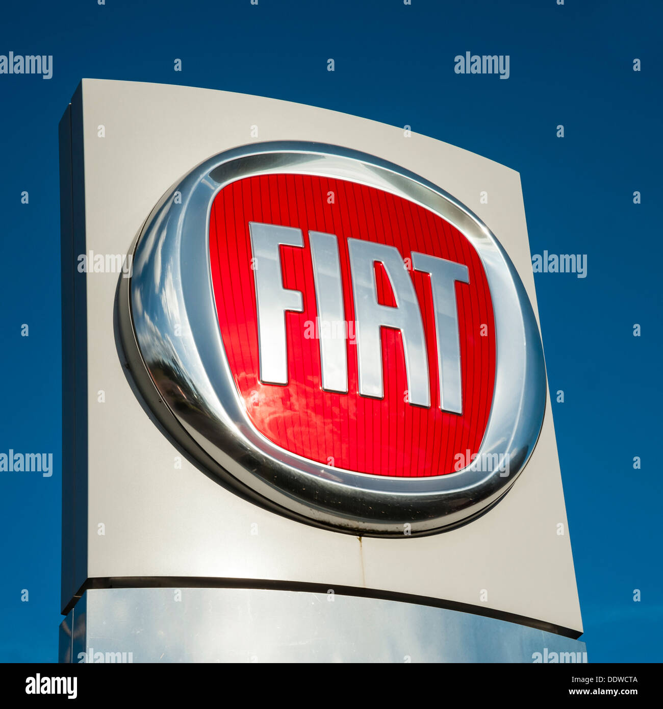 Fiat logo on a car dealership sign in the UK. - Stock Image