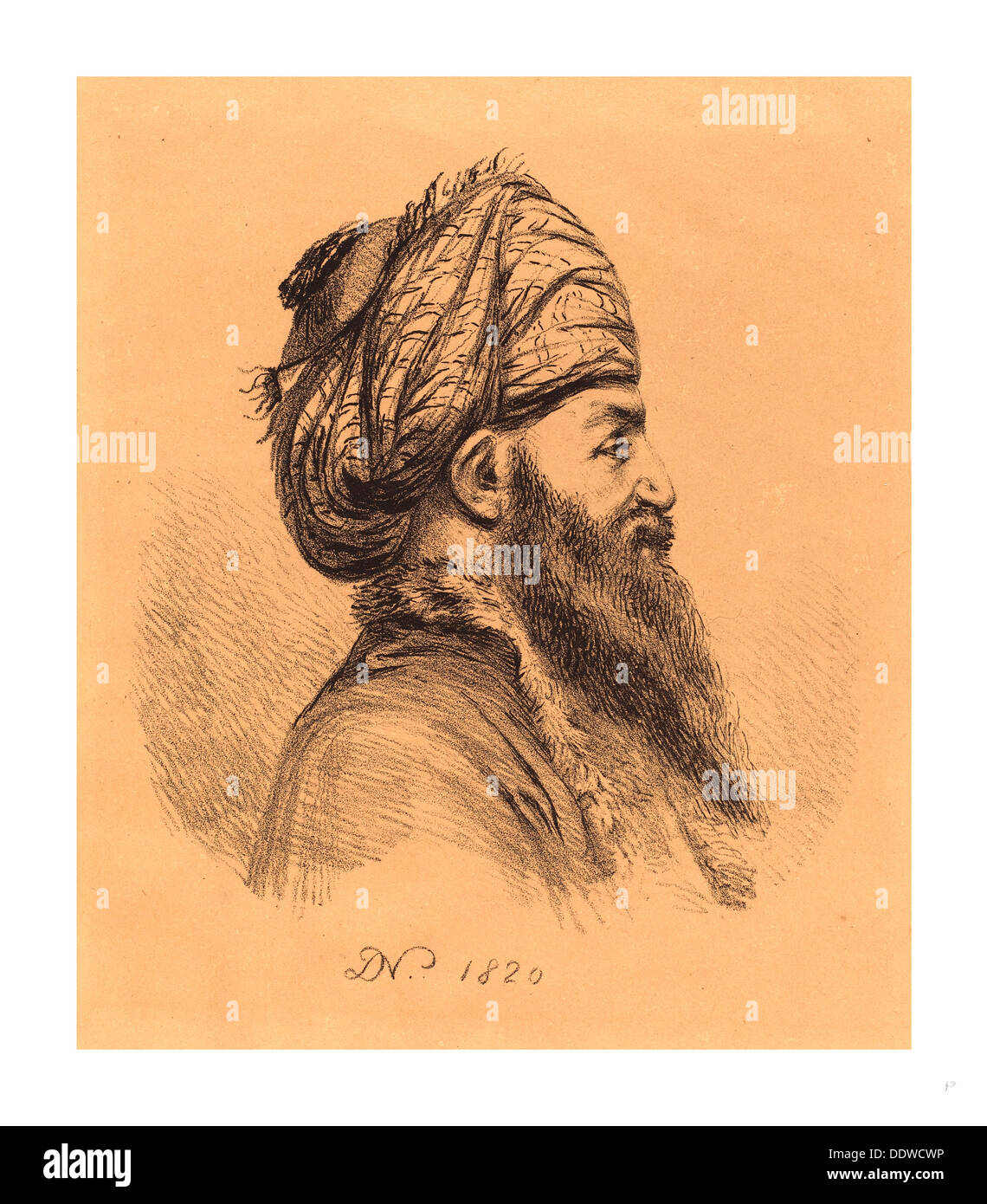 Baron Dominique Vivant Denon (French, 1747  1825 ), Profile Head of Oriental in Turban, 1820, lithograph - Stock Image
