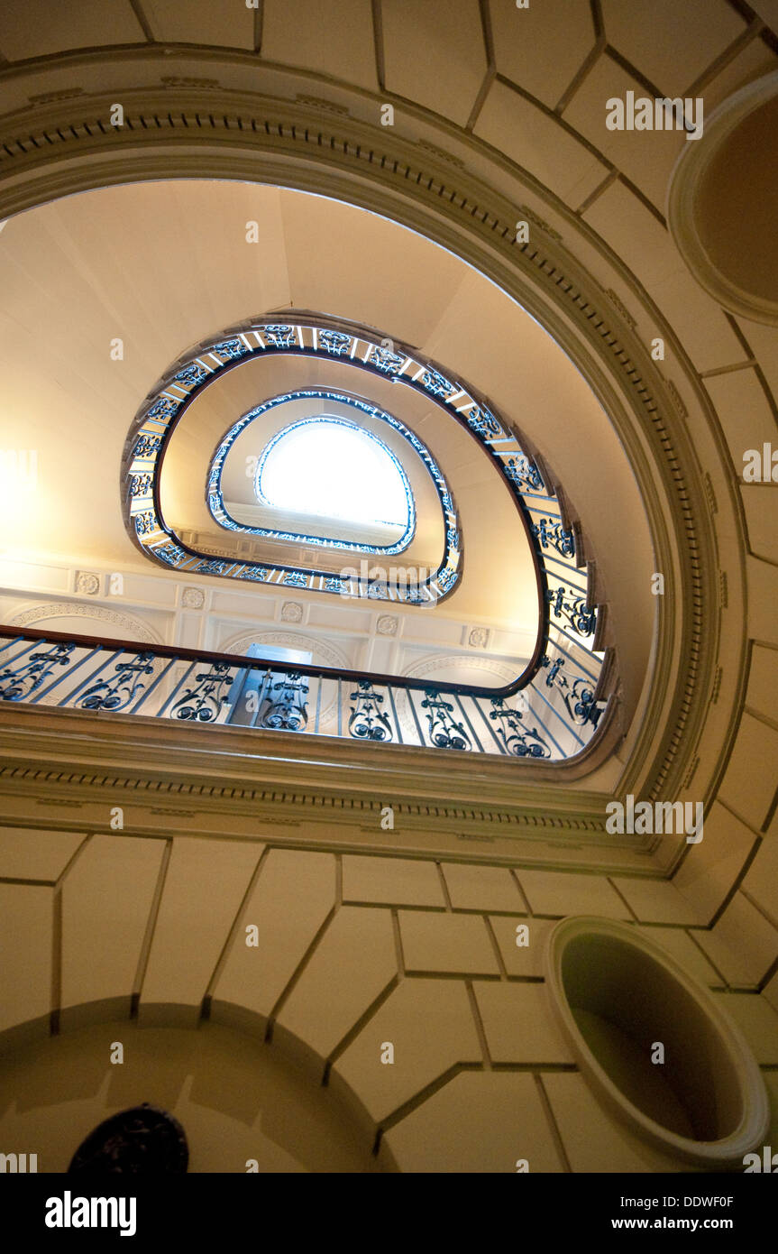 England, London, Somerset House, Stairway in the Courtauld Gallery - Stock Image
