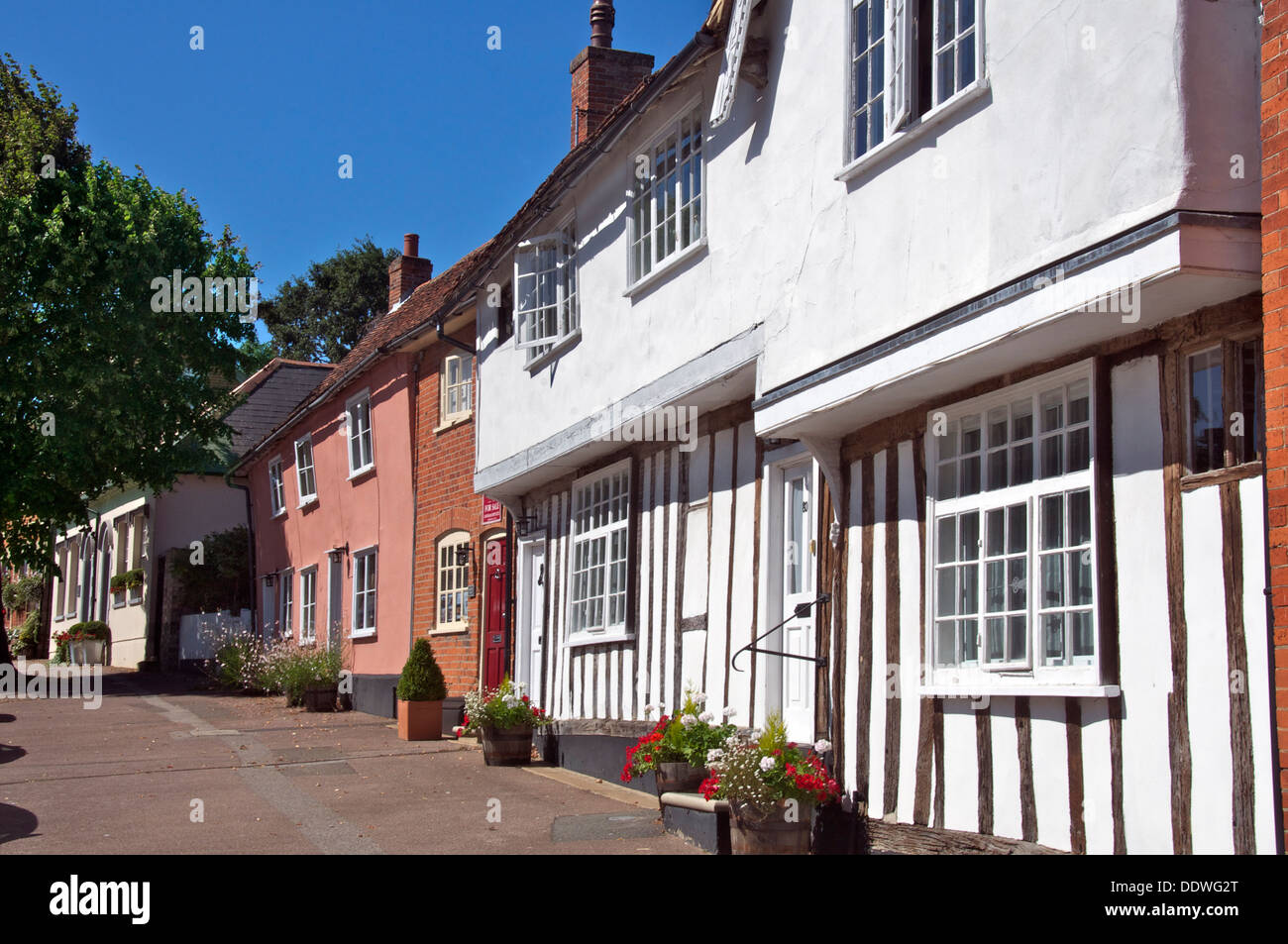 Row of old houses Lavenham Suffolk England - Stock Image