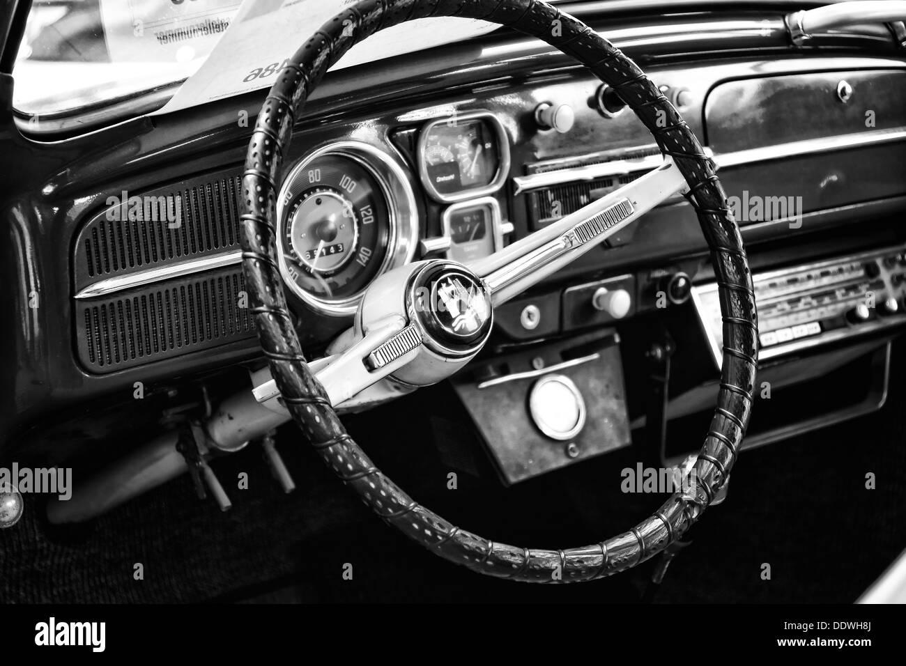 Cab subcompact Volkswagen Beetle (black and white) - Stock Image