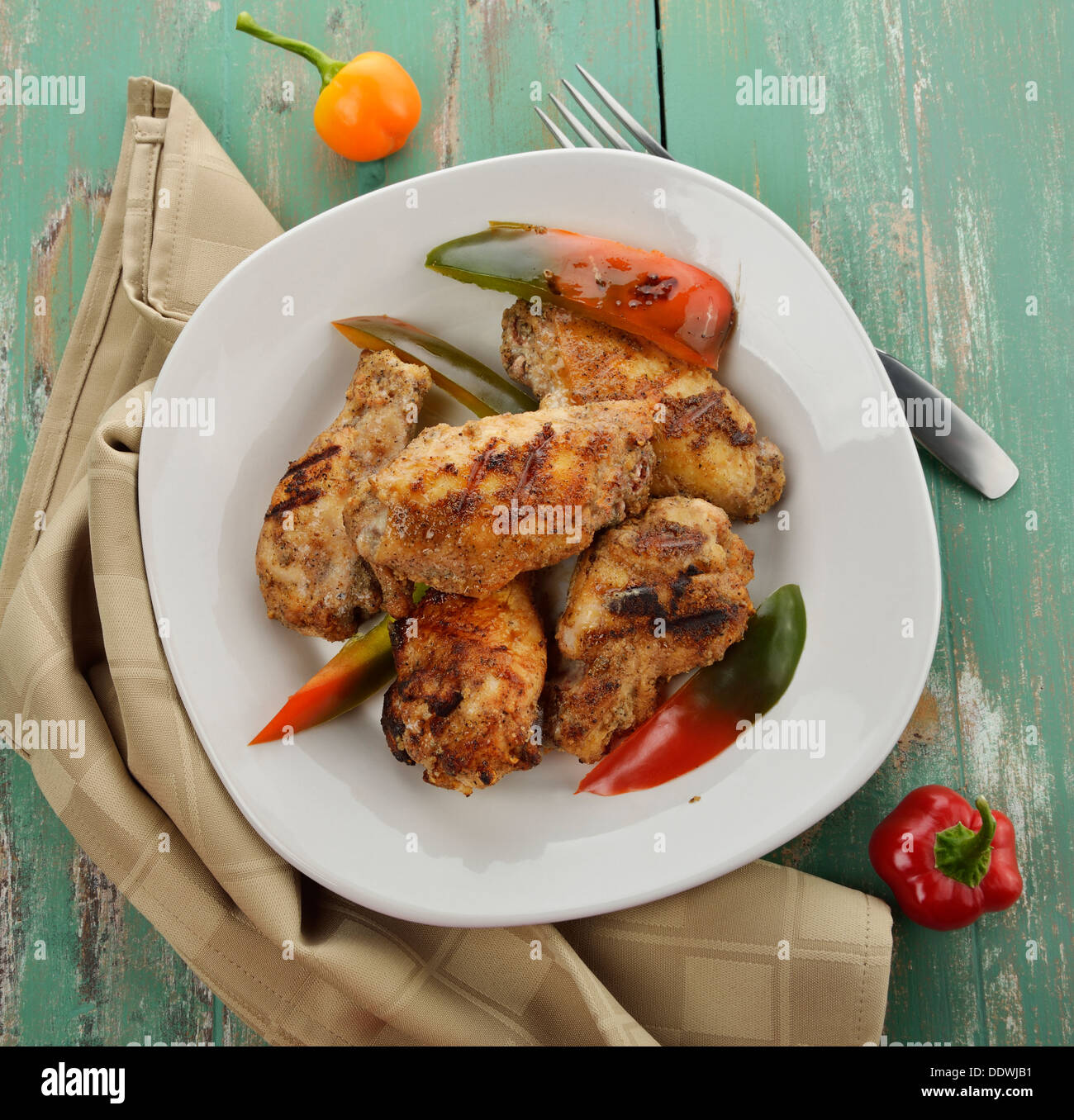 Grilled Chicken Wings With Sweet Pepper Stock Photo