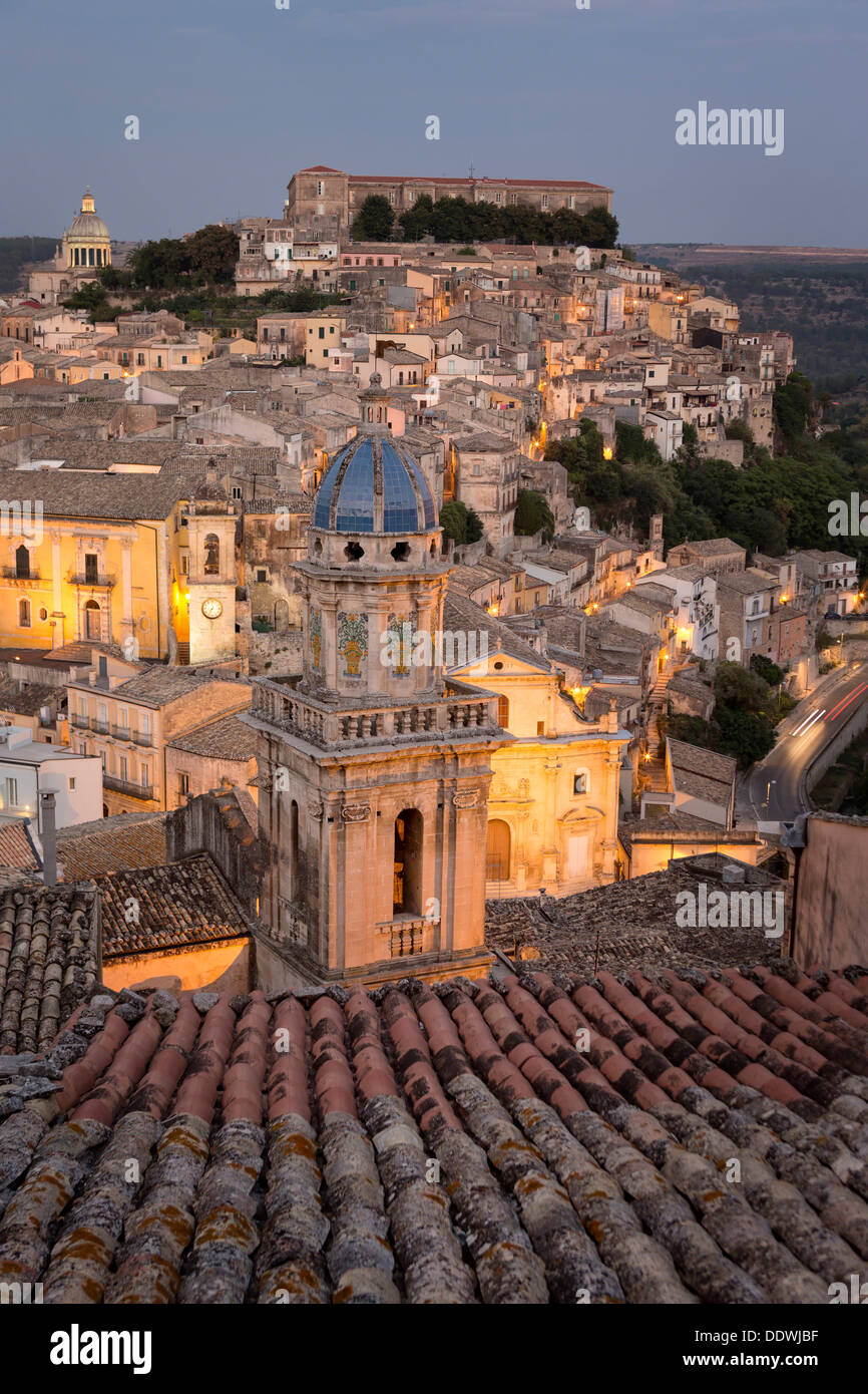 Aerial sunset view of Ragusa Ibla, Sicily, Italy - Stock Image