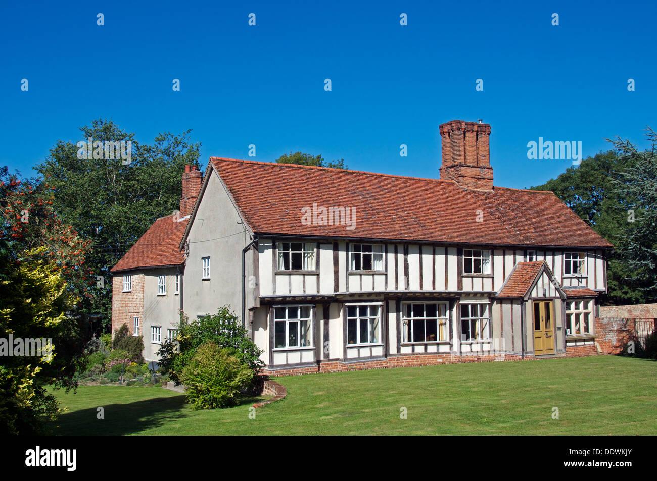 Old Tudor house Bulmer Tye Essex England - Stock Image