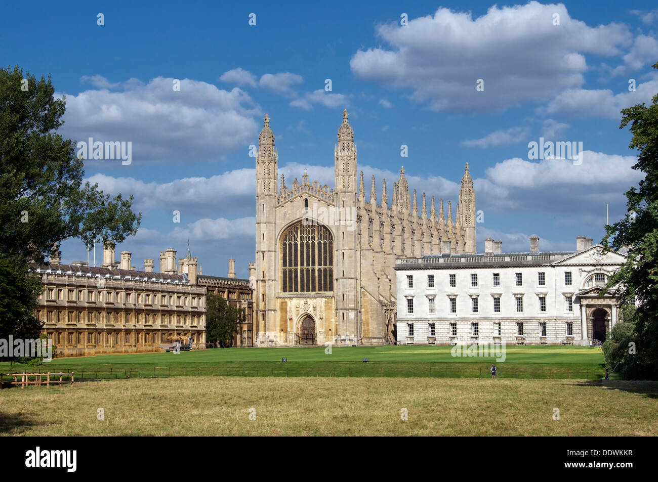 Panoramic view Kings College Cambridge University as seen from Backs Cambridgeshire England - Stock Image
