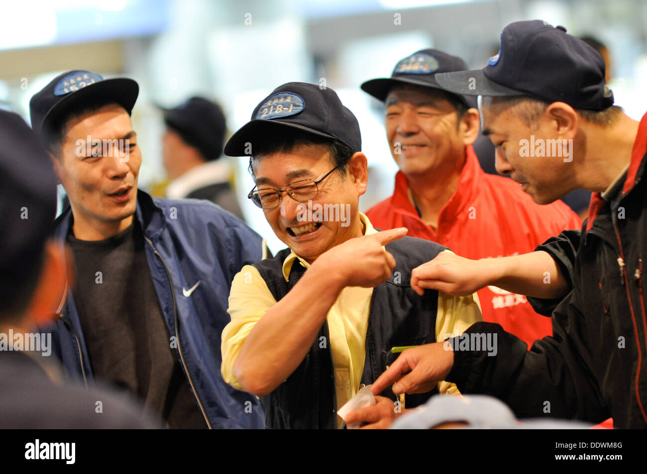 Seafood auction at the Osaka Municipal Central Wholesale Market in Japan. - Stock Image