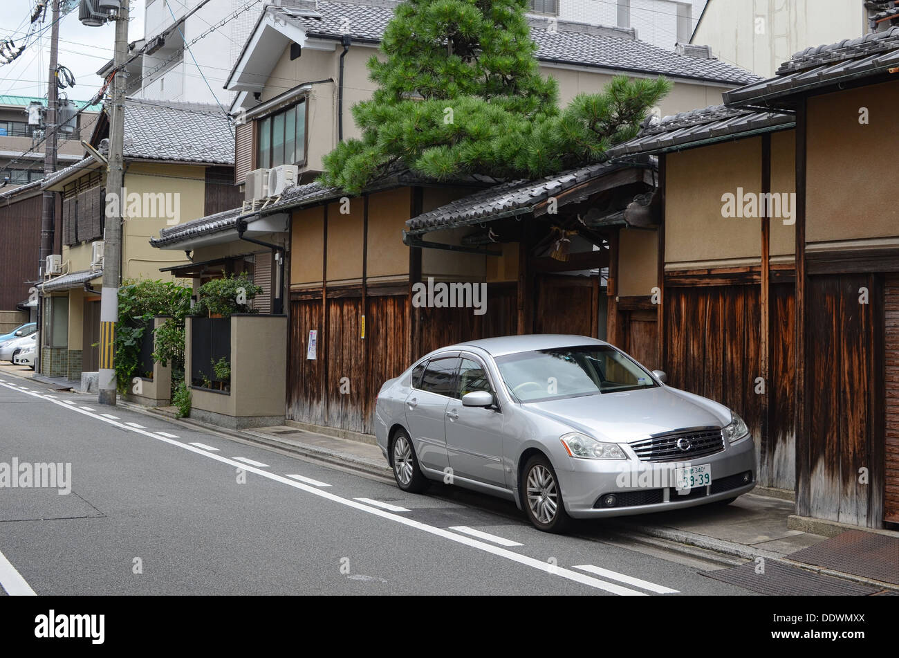 A Nissan car parked in a street in Kyoto, Japan. Stock Photo