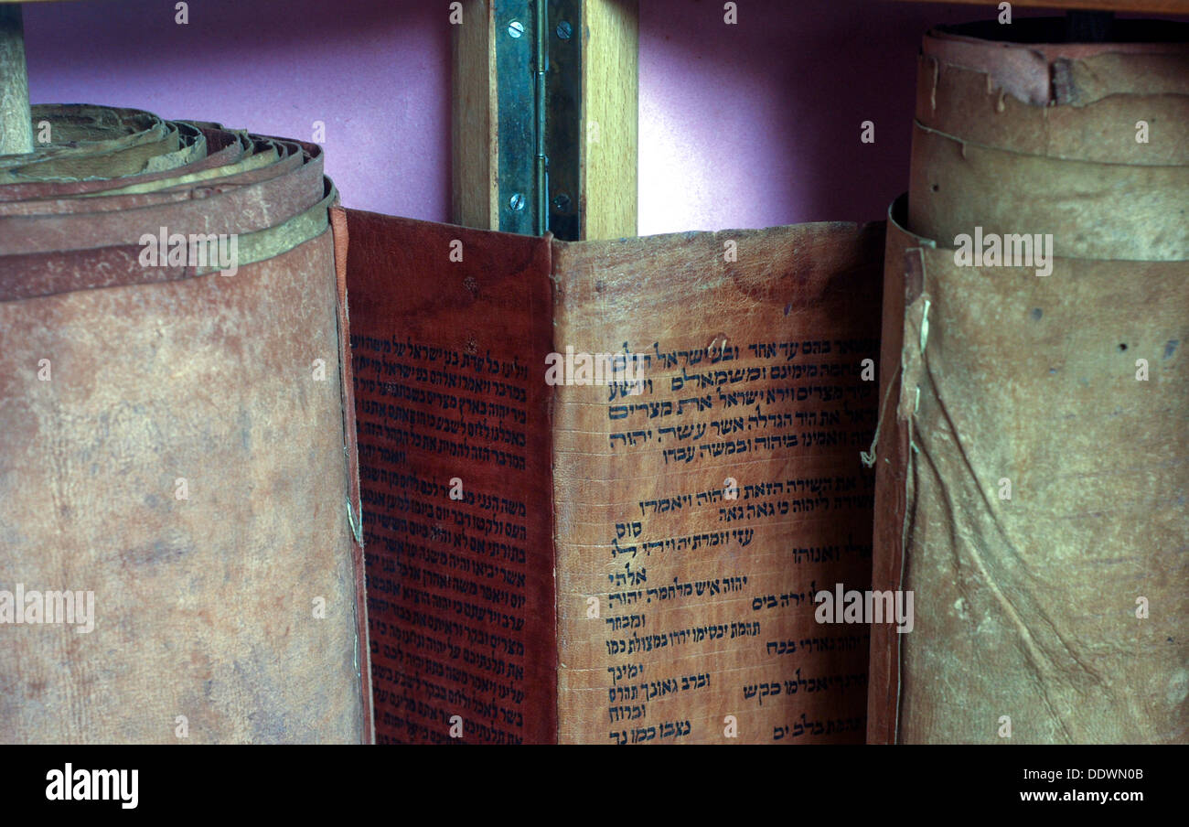 Ancient handwritten Torah scrolls from Yemen - Stock Image