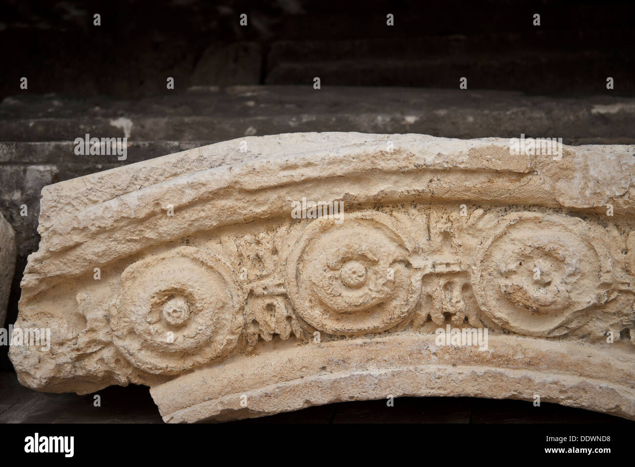 Ancient architectural details and pieces collected in Europeum - a part of National Museum in Krakow. - Stock Image