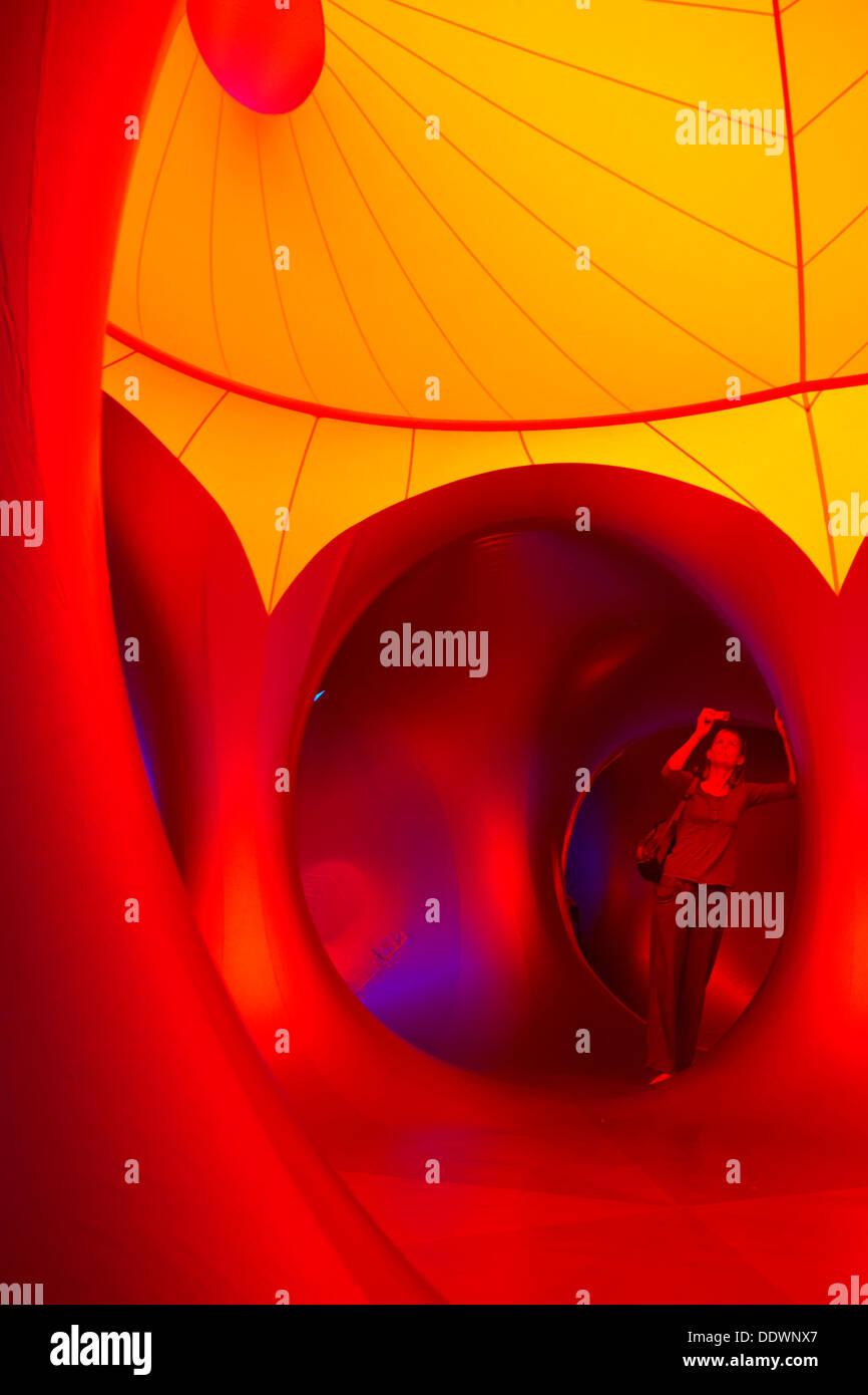 Inside the Amococo Luminarium at Bournemouth, Dorset UK in September Stock Photo