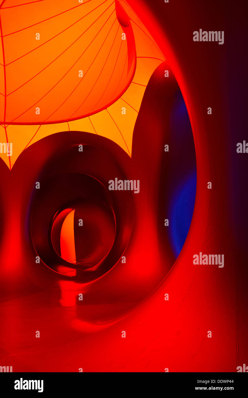 Inside the Amococo Luminarium at Bournemouth, Dorset UK in September - colourful abstract multi-coloured multi colours Stock Photo
