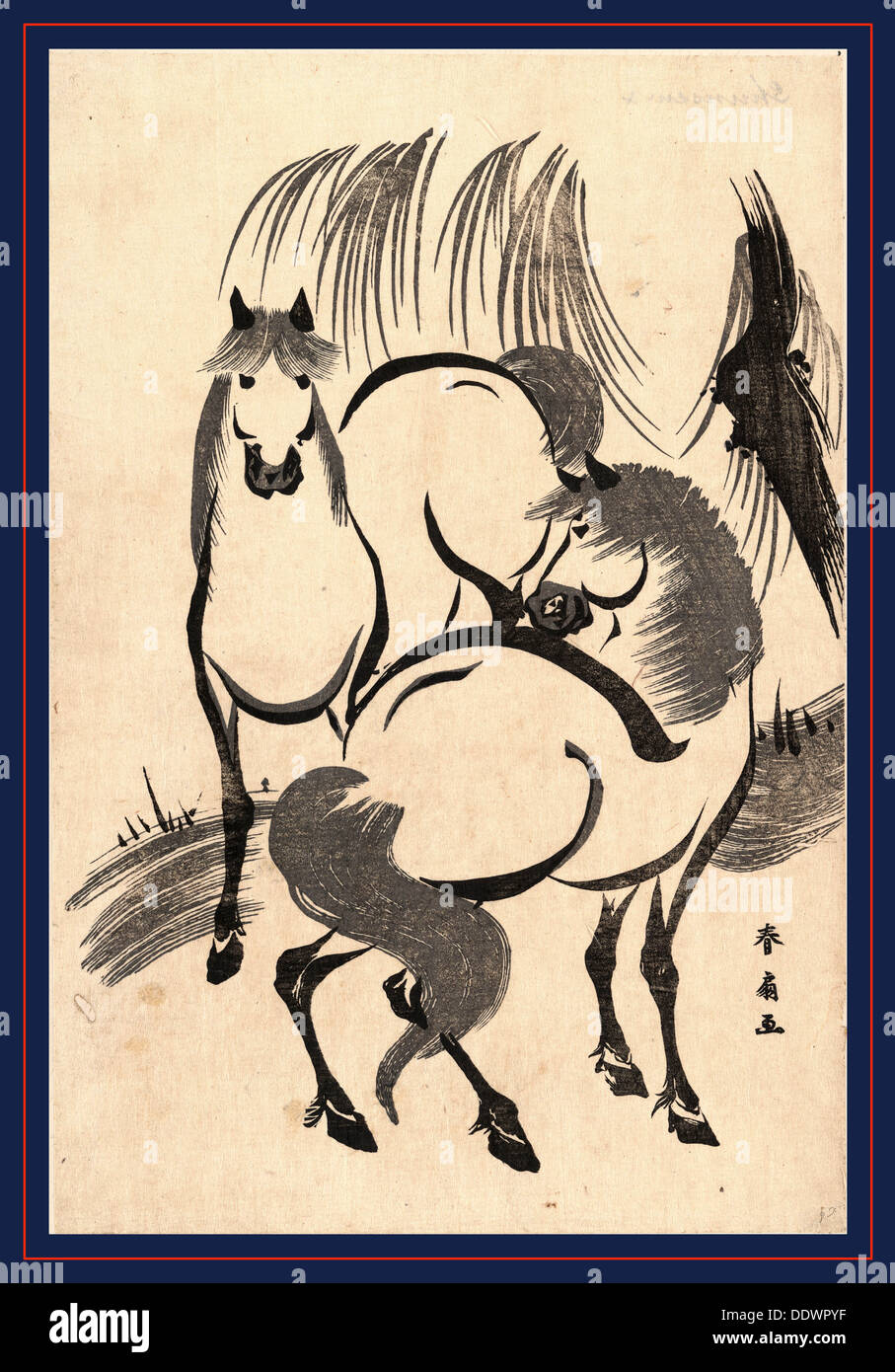 Ryuka no uma, Horses under a willow tree. [between 1804 and 1818], 1 print : woodcut ; 34.5 x 23.2 cm., Print shows two - Stock Image