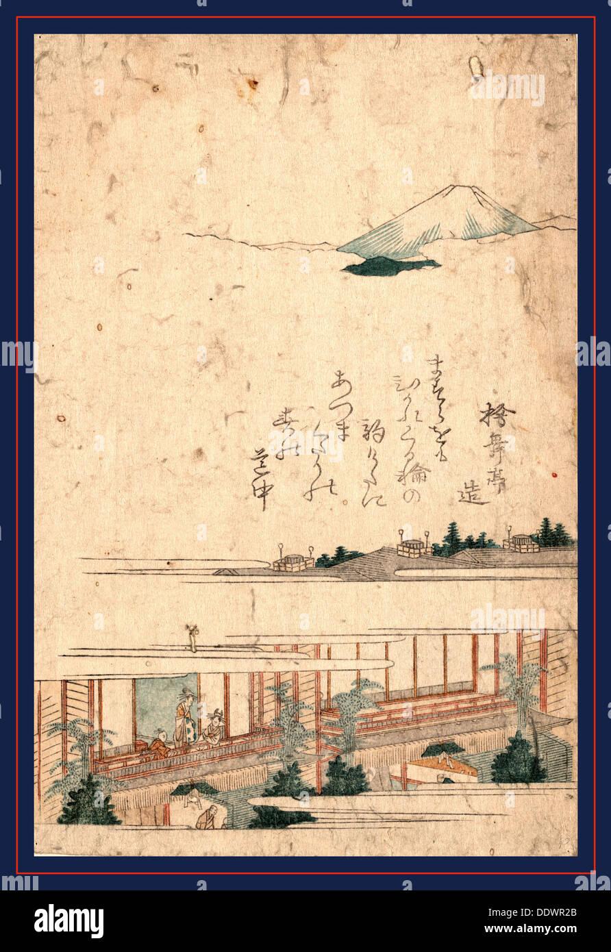 Yoshiwara, [between 1804 and 1818] 1 print : woodcut, color ; 20.6 x 13.7 cm. Print shows bird's-eye view of a yoshiwara with - Stock Image