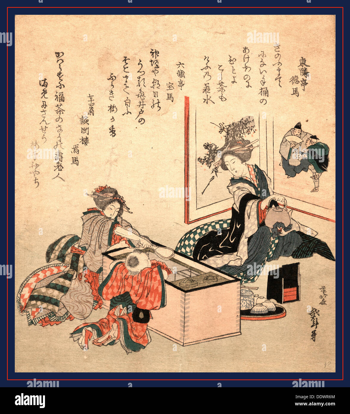 Wakamizu no fukucha, The first tea of the year. 1816., 1 print : woodcut, color ; 20.7 x 18.8 cm., Print shows a tea party with - Stock Image