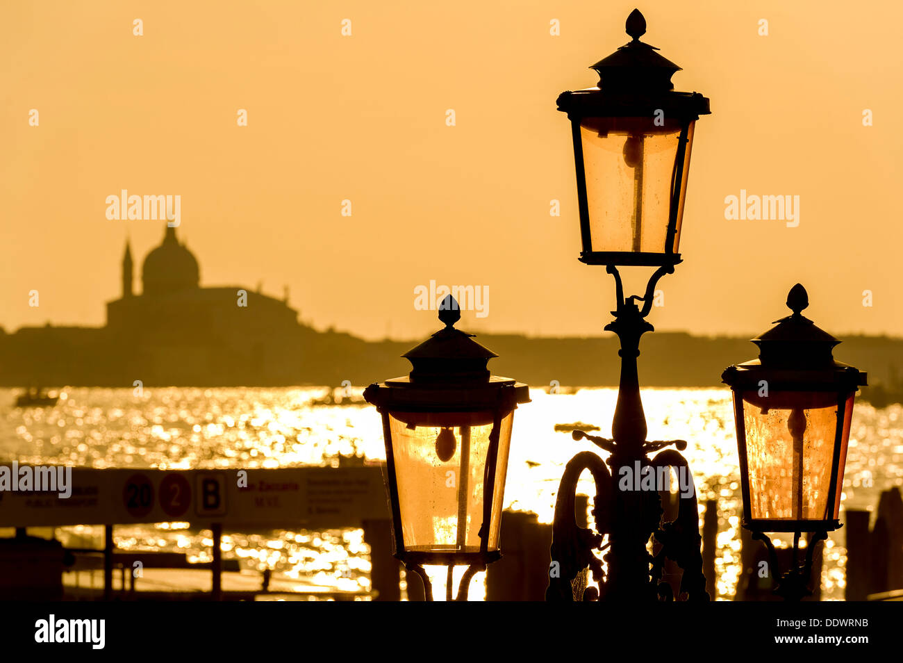 Europe, Italy, Veneto, Venice, classified as World Heritage by UNESCO. Streetlight. - Stock Image