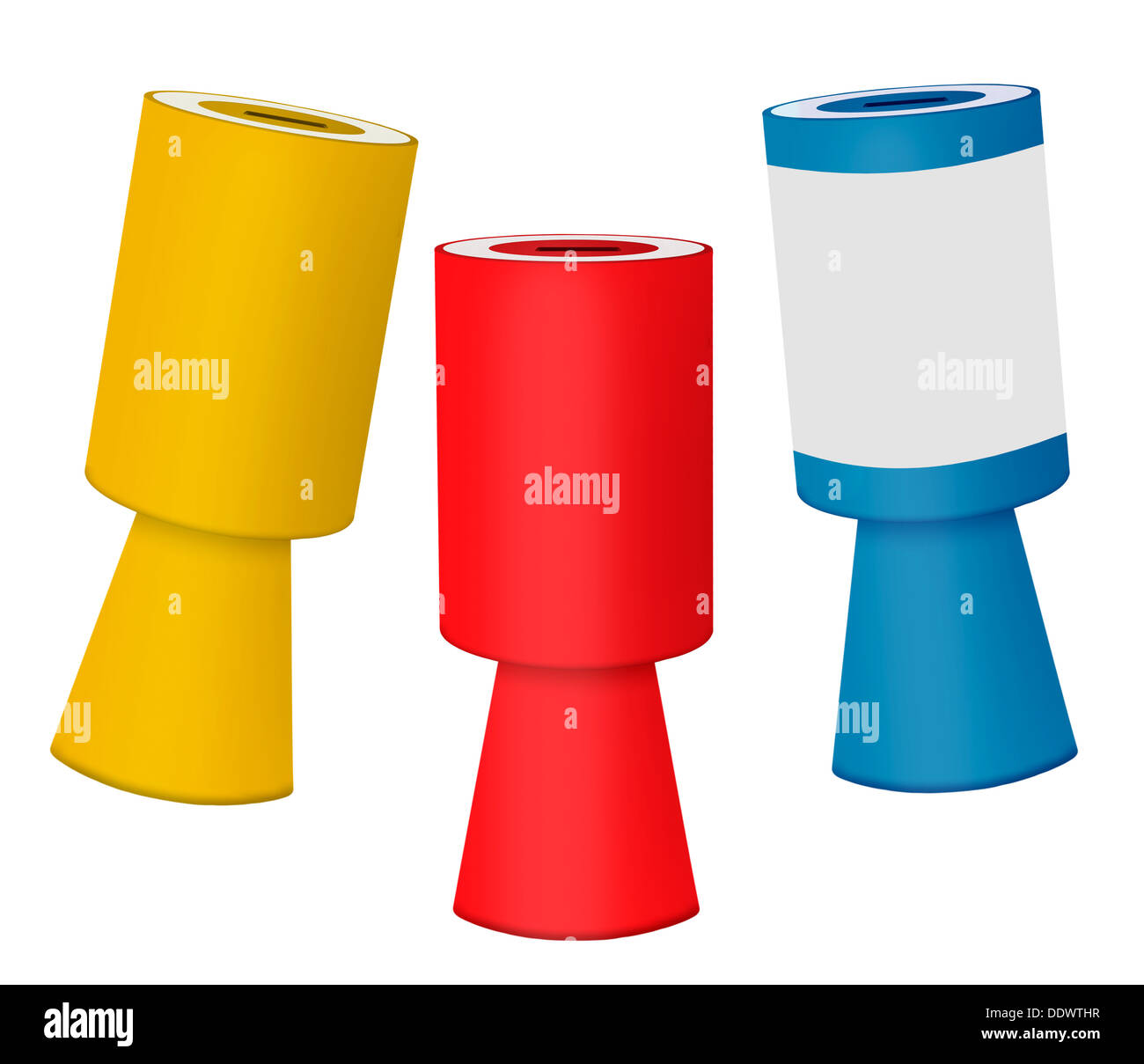 Charity collecting money boxes - Stock Image