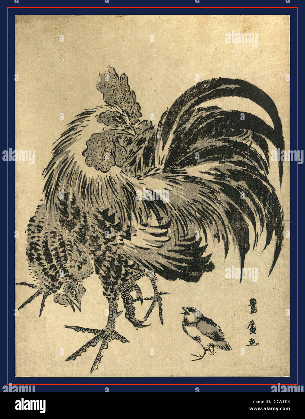 Niwatori, Hen and chick. [between 1804 and 1818], 1 print : woodcut, color ; 22.1 x 17 - Stock Image
