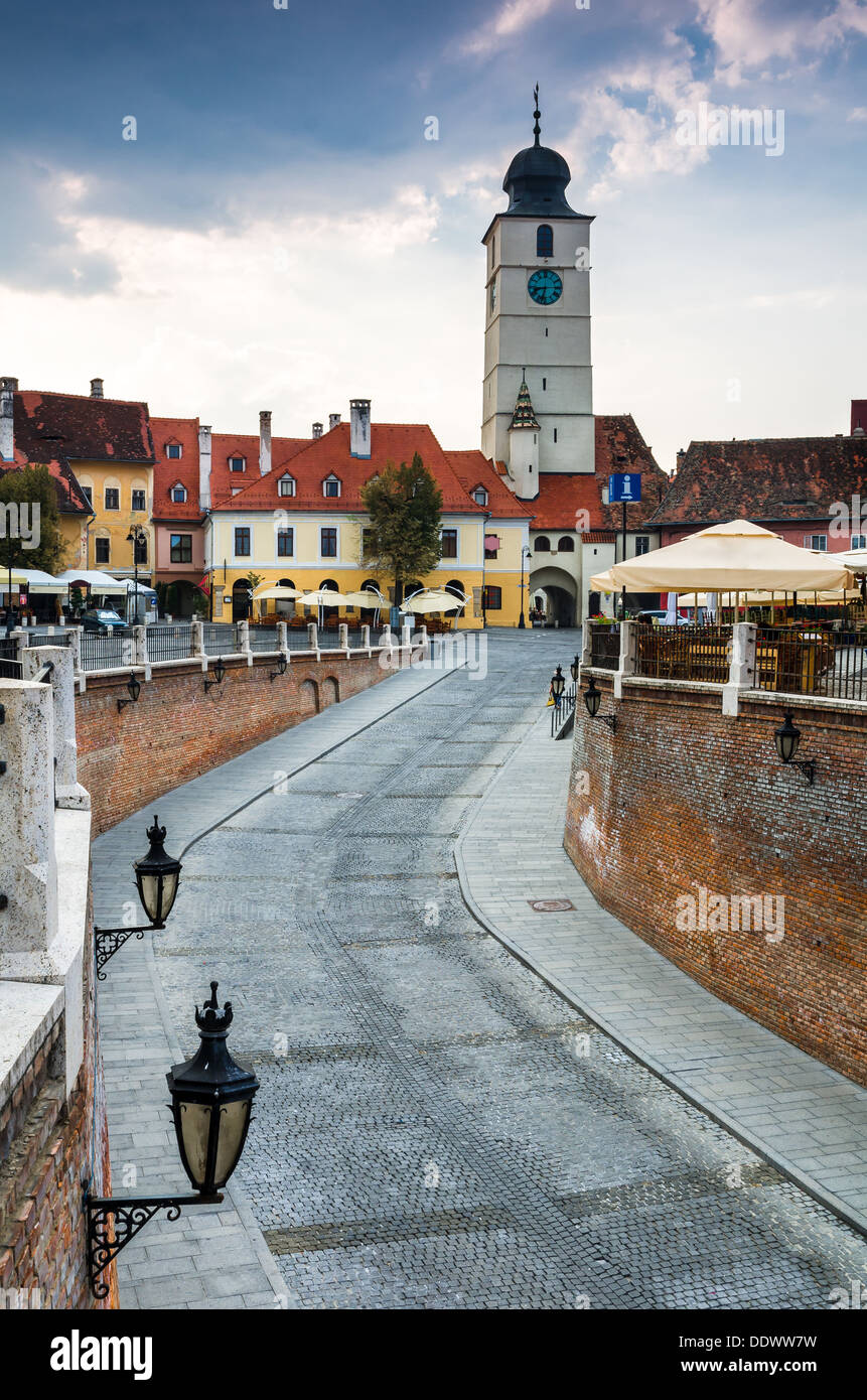 Downtown of Sibiu with Lesser Square seen from Liars bridge. Romania - Stock Image
