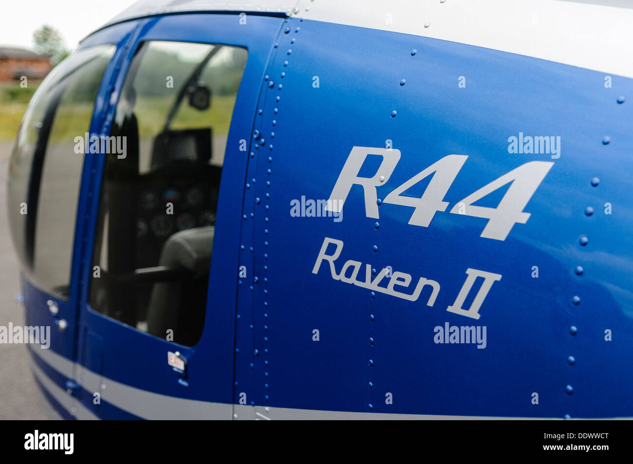 Logo on the side of a R33 Raven II helicopter - Stock Image