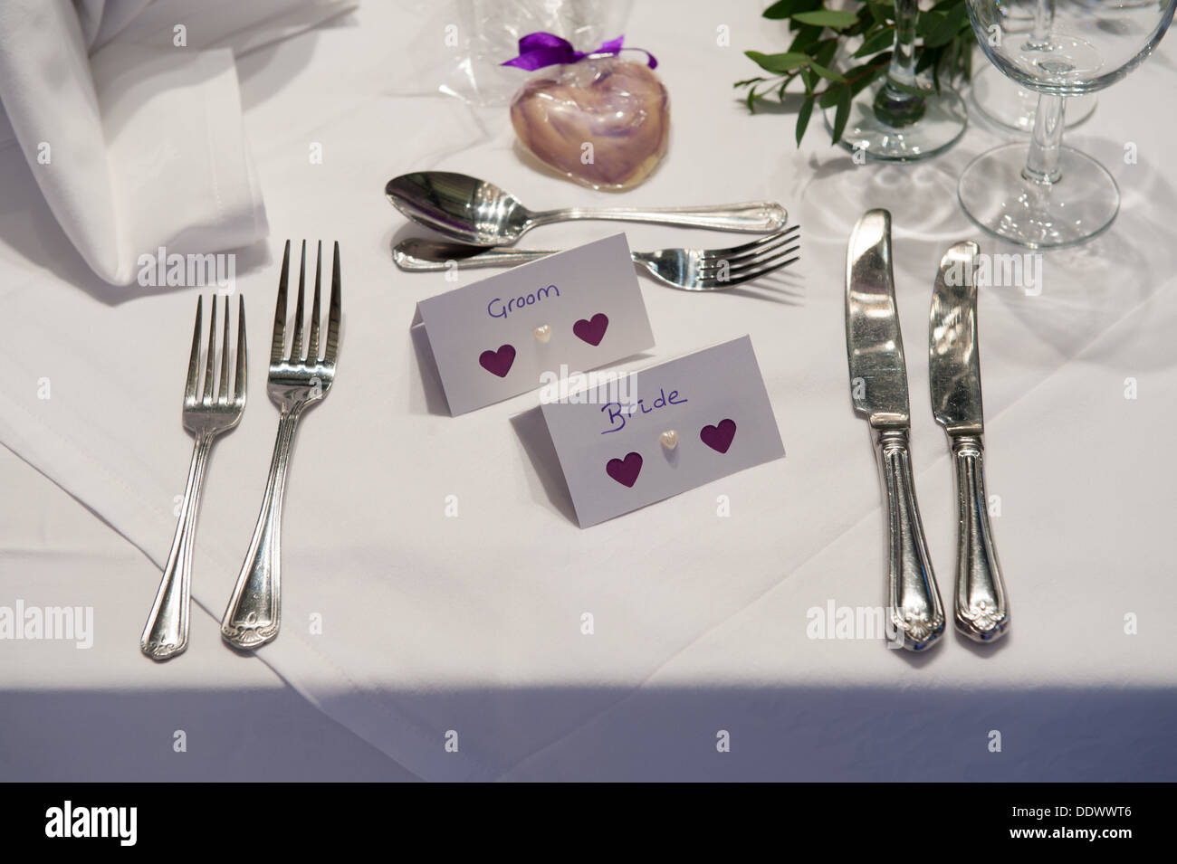 Wedding Place Setting For Bride And Groom   Stock Image