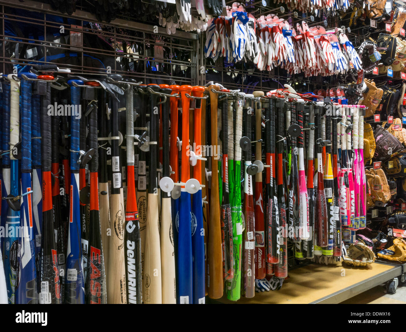 Sporting Goods Equipment ~ Baseball bats in modell s sporting goods store nyc stock