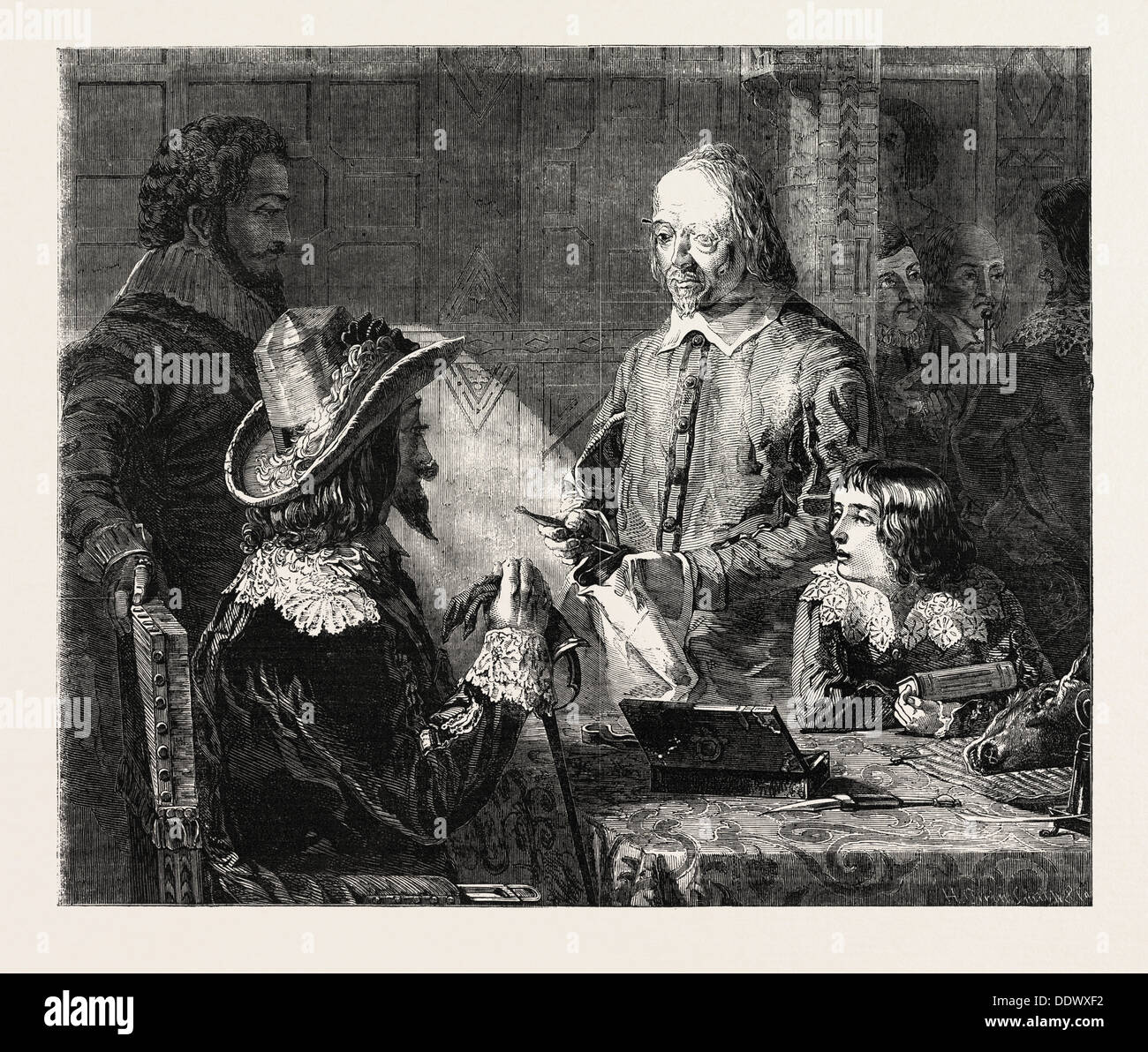 FINE ARTS, 'HARVEY DEMONSTRATING TO CHARLES I. HIS THEORY OF THE CIRCULATION OF THE BLOOD' PAINTED BY R. HANNAH - Stock Image