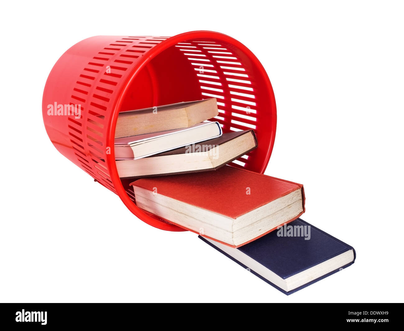 Books in bin - old style learning. - Stock Image