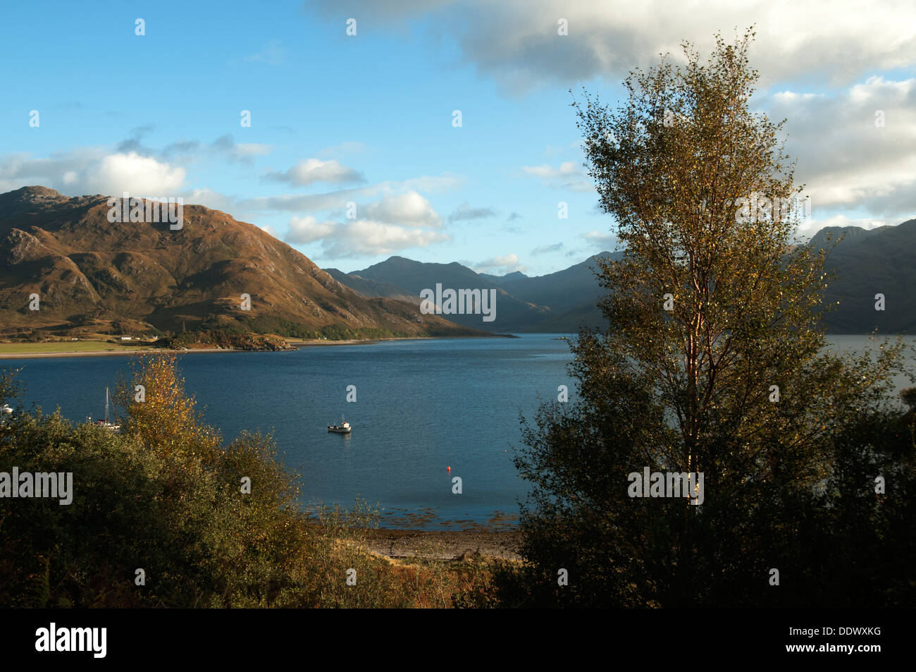 Druim Fada (left) over Loch Hourn, and the mountains of Knoydart from Arnisdale, Highland region, Scotland, UK Stock Photo