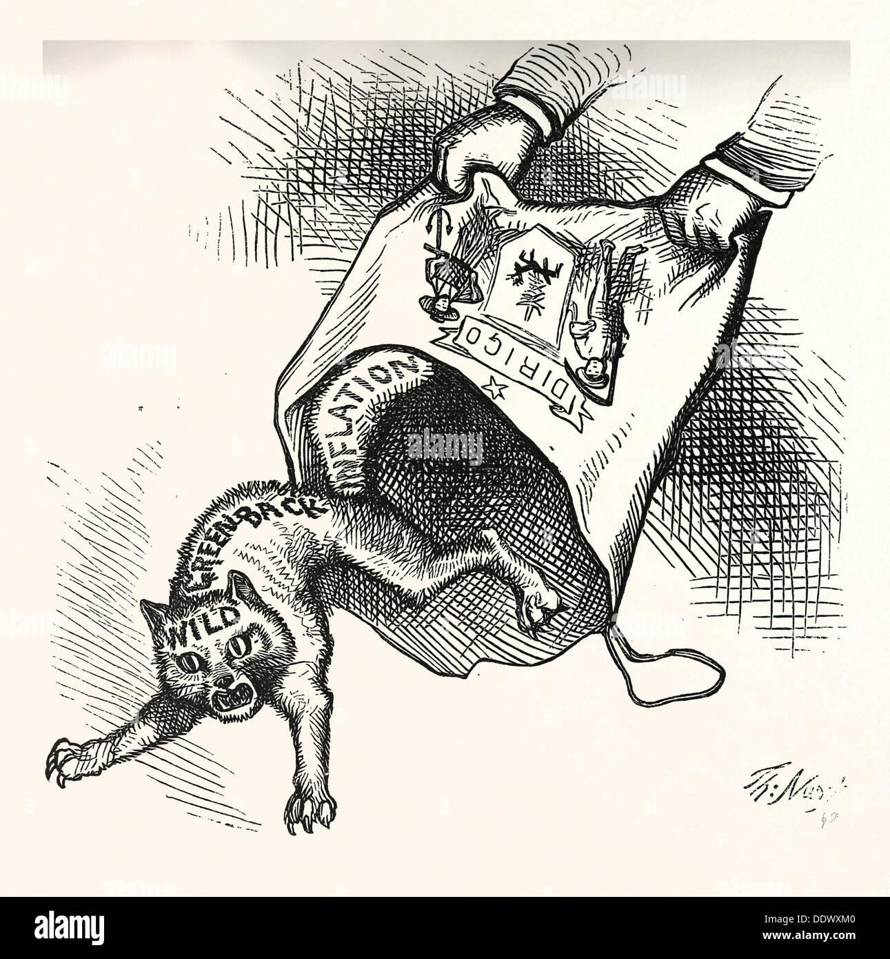 MAIN(E) PRIZE. Democrats had let it, engraving 1880, US, USA, POLITICS, POLITICAL, POLITIC, CAMPAIGN, PATRIOTIC - Stock Image