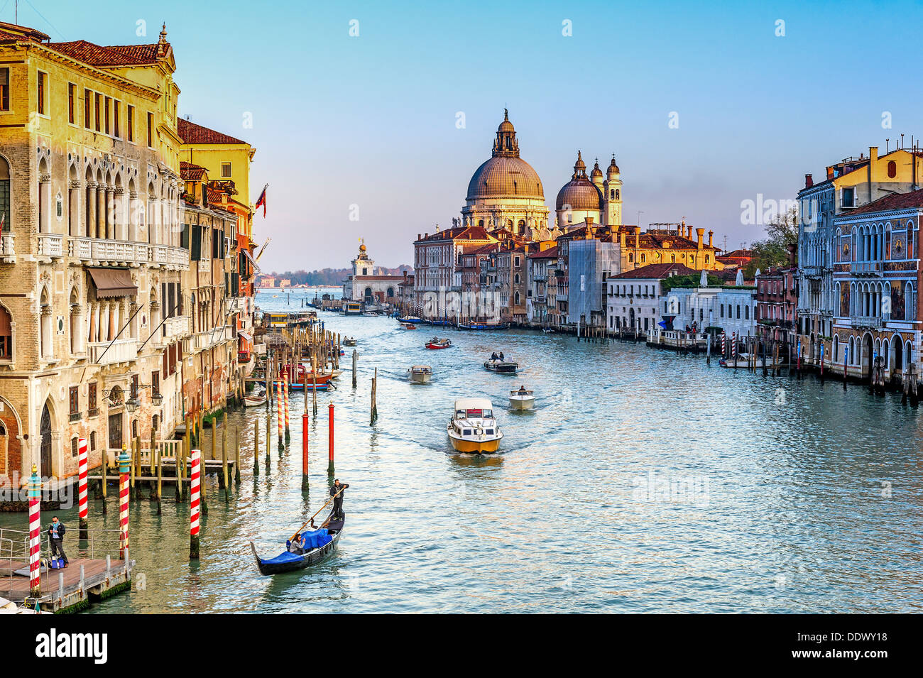 Europe, Italy, Veneto, Venice. The Grand Canal from the bridge of the Academia and Our Lady of the Salute. - Stock Image