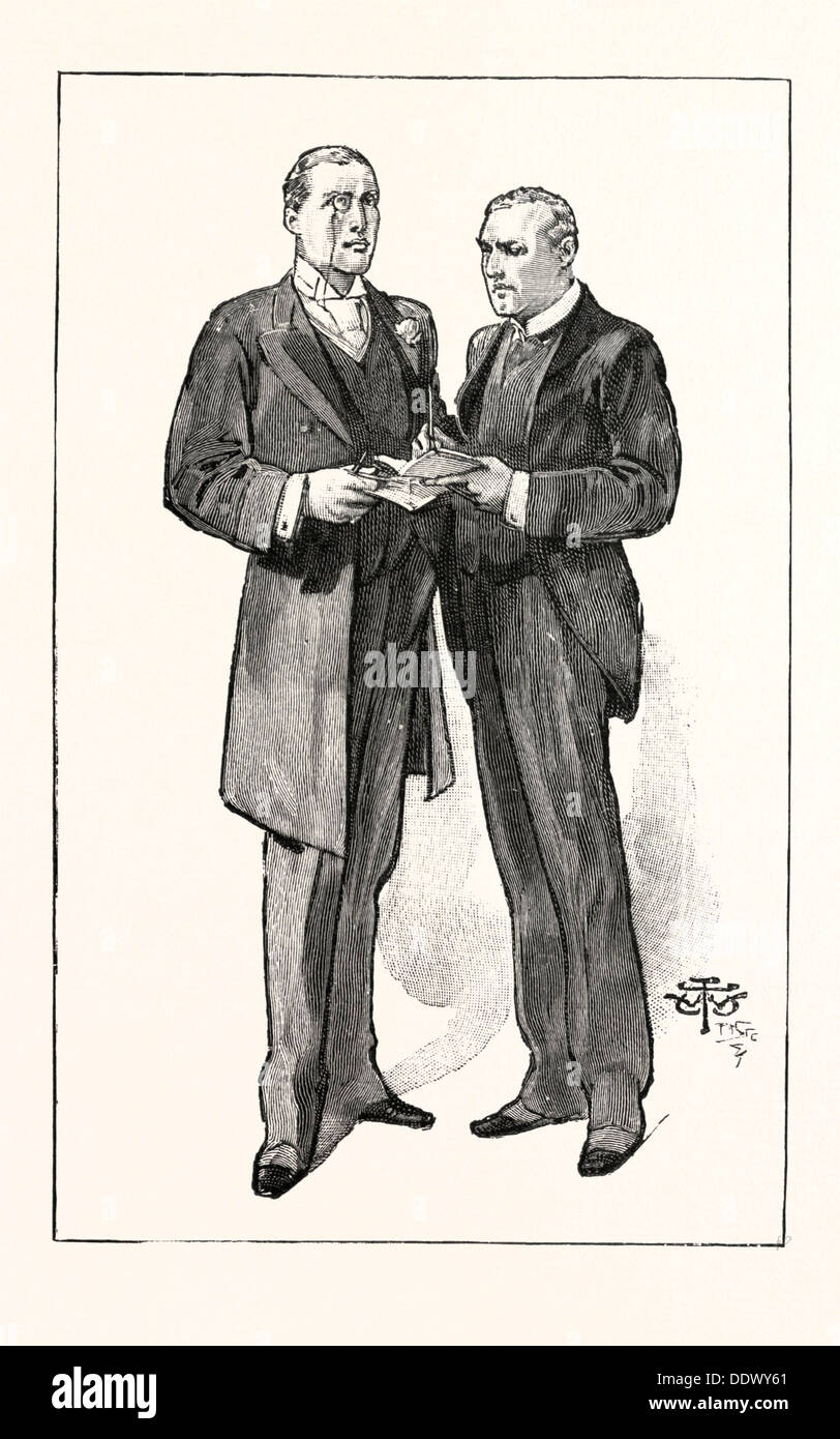 A DIVISION IN THE HOUSE OF COMMONS: THE LIBERAL UNIONIST WHIPS: Mr. Austen Chamberlain and Mr. Anstruther, UK, 1893 engraving - Stock Image