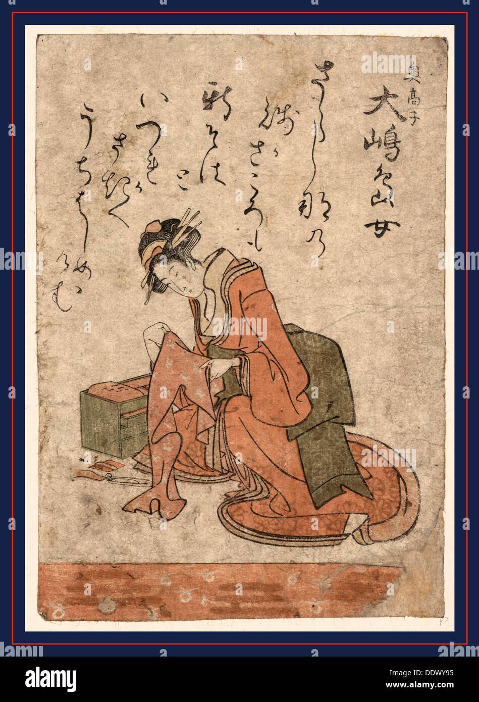 Oshima shimajo, The beauty Oshima Shimajo. [between 1801 and 1805], 1 print : woodcut, color ; 20.2 x 14 - Stock Image