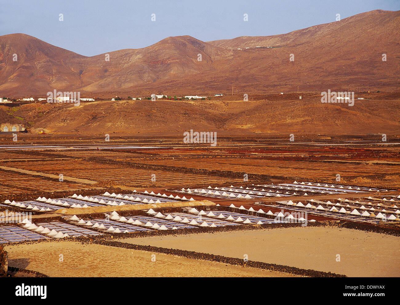 Janubio Saltworks. Lanzarote island, Canary Islands, Spain. Stock Photo