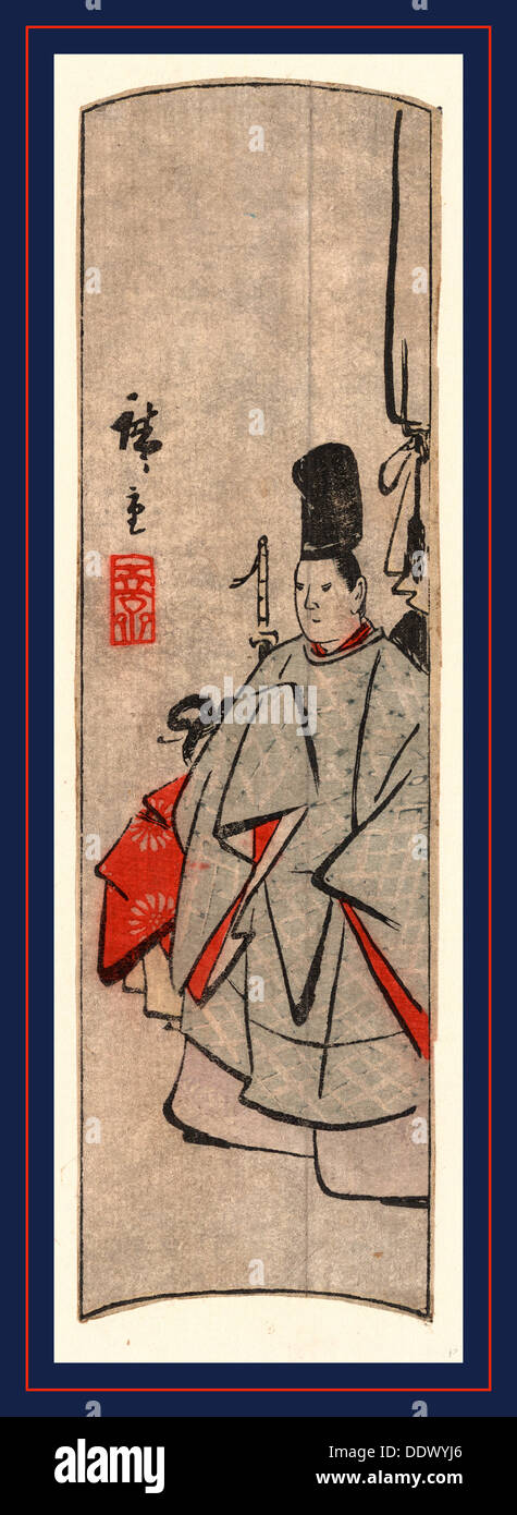 Kijin zu, Court figure. [between 1868 and 1894], 1 print : woodcut, color ; 20.8 x 5.9 cm., Print shows a court official, - Stock Image