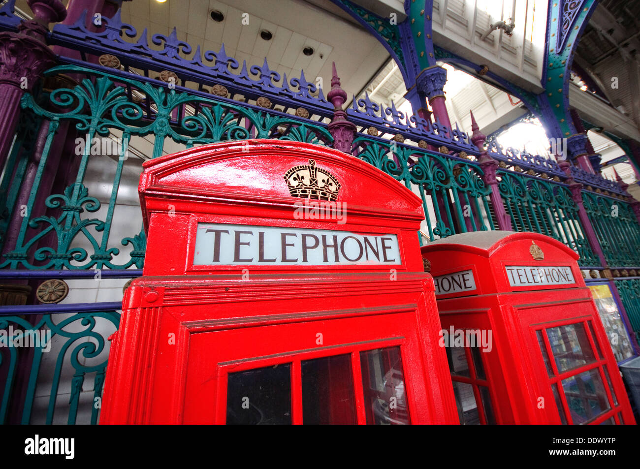 England, London, Smithfield Market, Red Telephone Box - Stock Image