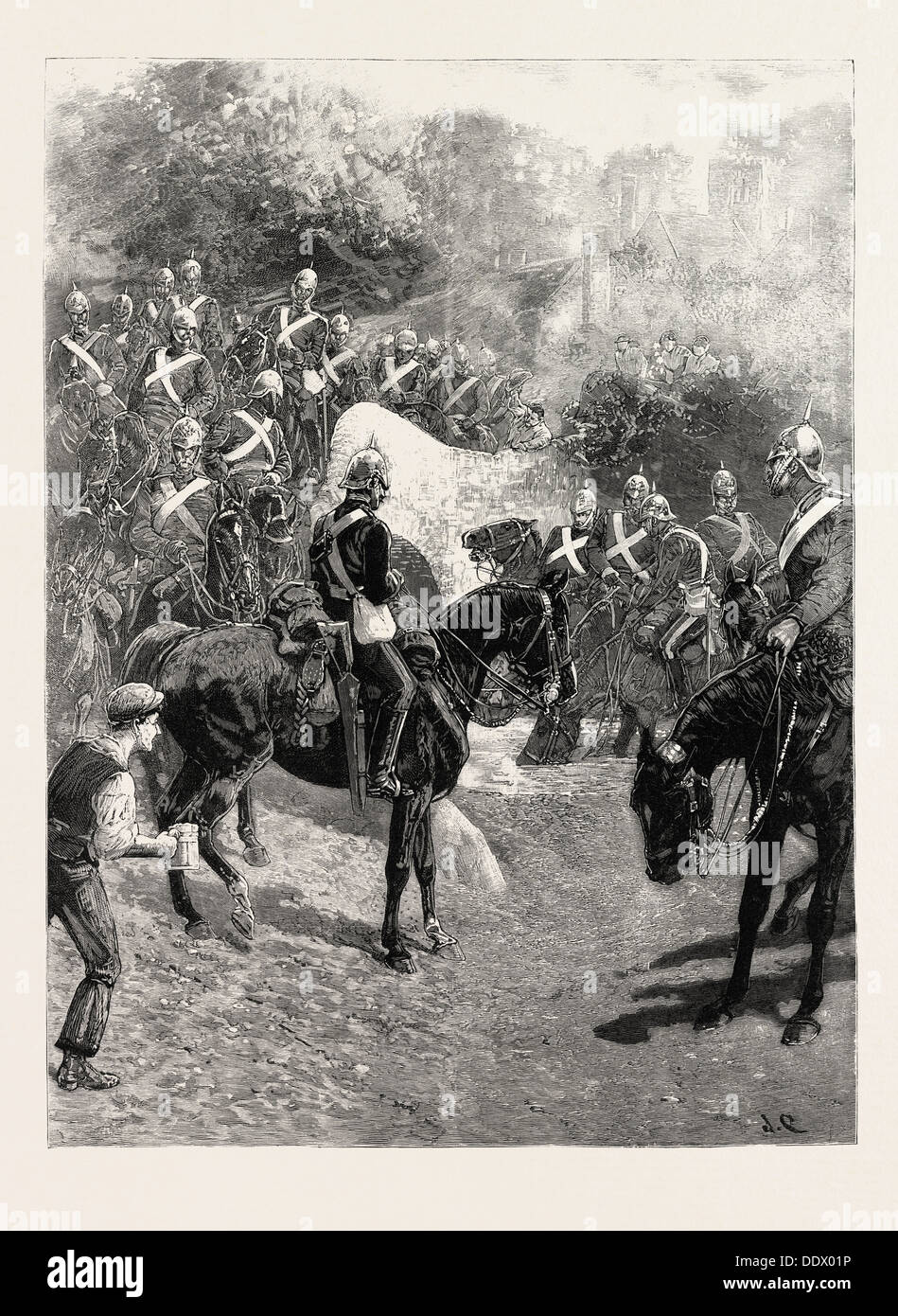 THE CAVALRY MANOEUVRES: THE GUARDS ON THE MARCH FROM ALDERSHOT TO CHURN CAMP, ARRIVING AT A WATERING PLACE, 1890 Stock Photo