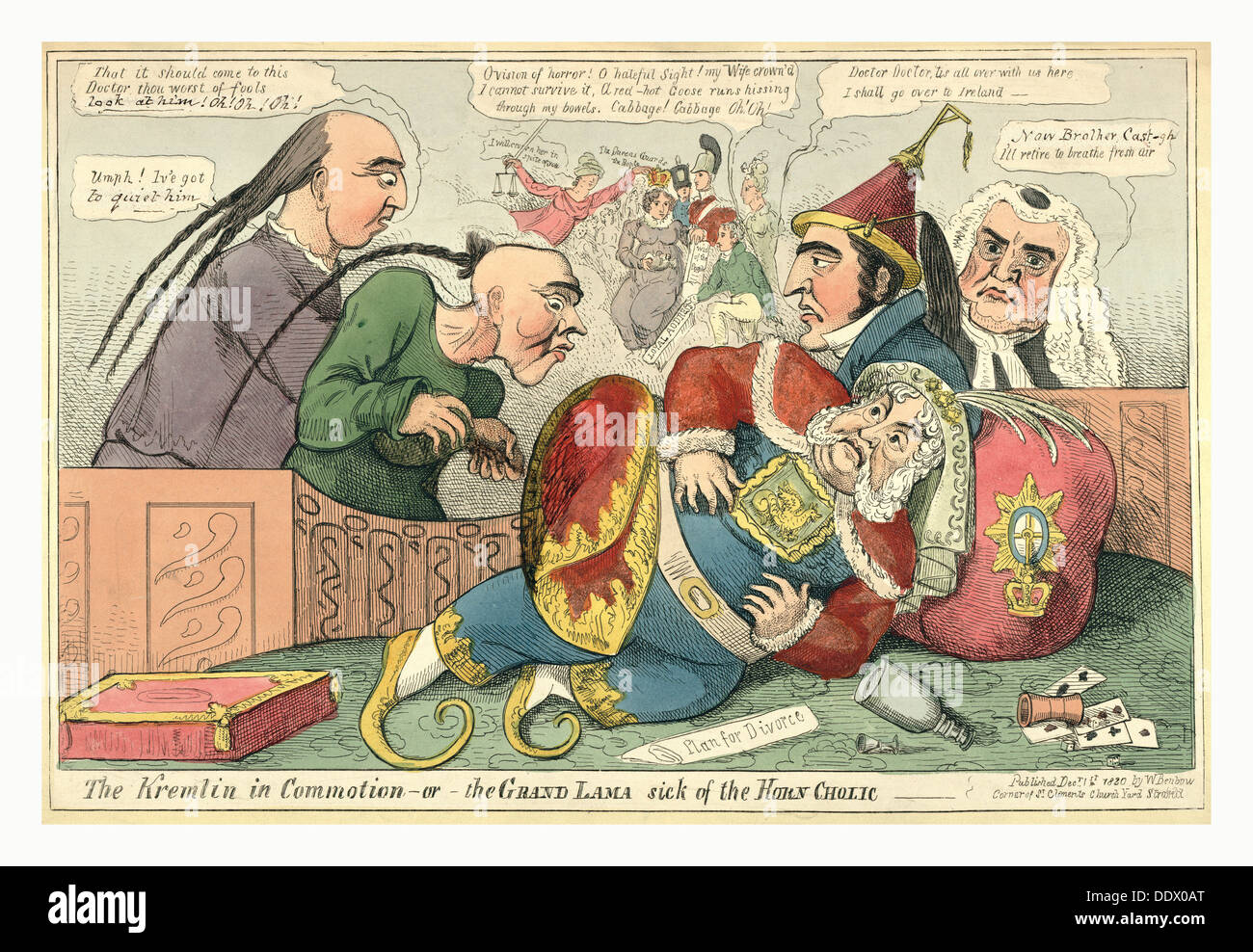 The Kremlin in commotion  or  the Grand Lama sick of the horn cholic, 1820, King George IV fallen to the floor - Stock Image