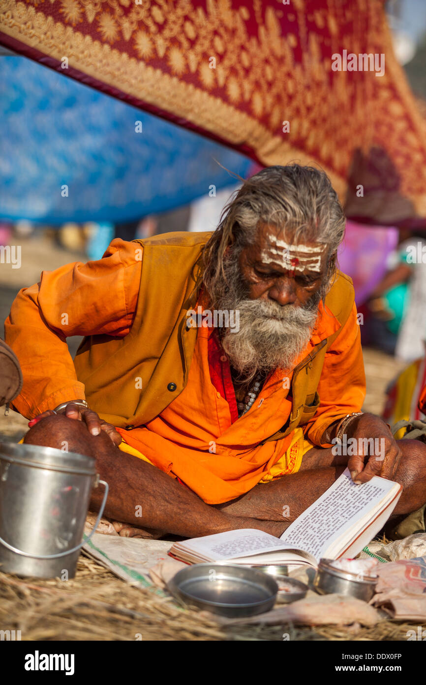 Naga Sadhu Portrait - The Great Renounce , reading a manuscript with mantras at the Kumbh Mella 2013 in Allahabad, India - Stock Image