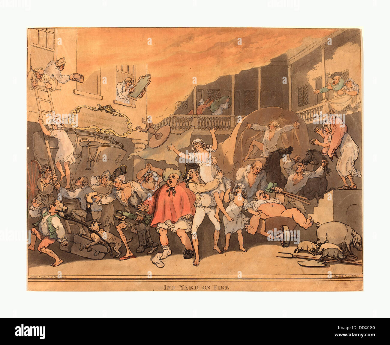 Thomas Rowlandson (British, 1756 - 1827 ), The Inn Yard on Fire, 1791, hand-colored etching and aquatint - Stock Image